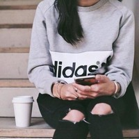 Tagre™ Casual Adidas Print Sweatshirt Top Sweater