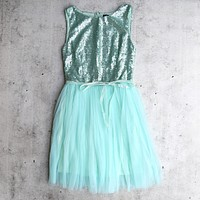 Sugar Plum 2.0 Party Dress with Tulle Skirt in Mint