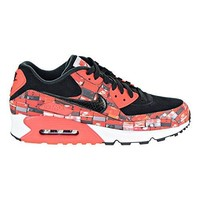 NIKE Men's Air Max 90 PRNT, Black/Bright Crimson-White