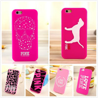 Women Silicone Cell Phone Cases For Apple iPhone 6 6s Victoria/'s Secret PINK Love Pink Dog Skull Girl Mobile Case Cover