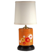 Vintage Retro Orange Floral Canister Lamp