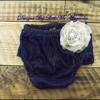 """Baby Girl Clothes, Diaper Cover In Denim , Baby Bloomers  """" Casual Friday"""""""
