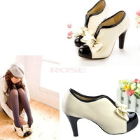 Bow Pump Ankle Boots Women Beige Ladies High Heel Shoes Style Tie Platform 3358 Women's shoes = 1745410628
