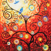 Large painting 48x64 Enchanted Red forest tree Modern Acrylic landscape Love birds Original extra large wall art unstretched canvas 60 64