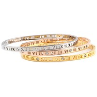 Wholesale High Quality three color Letter Crystal Bracelets Bangles Stainless Steel Jewelry For Women & Man