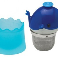 HIC Floatin' Tea Infuser with Stainless Steel Basket, Whale Shape