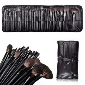Flylinktech® 2014 32pcs New Natural Hair Super Professional Cosmetic Makeup Make Up Brushes Set with Leather Case (Black)
