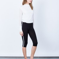 Striped Sporty Capri Leggings