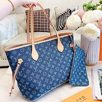 LV New fashion monogram print shoulder bag handbag two piece suit Blue