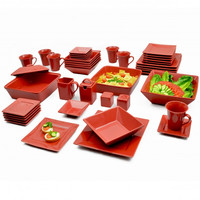Bold Red Elegant Square Banquet 45-Piece Dinnerware Serving Set