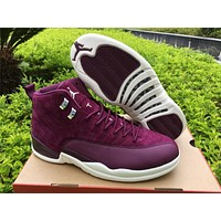 "Air Jordan 12 ""Bordeaux"" Basketball Shoes 36-47"