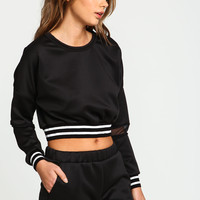 Sporty Varsity Mesh Cropped Sweater