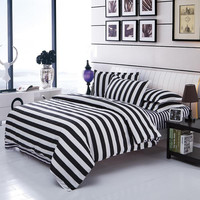 Stripe Grid Bedding Sets Twin/Full/Queen Size Bedclothes Single Double Bed Linen Geometry Printed Bed Sheet Grid Duvet Cover Set
