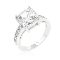 Classic Princess Cut Raised Pave Engagement Ring, size : 10