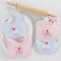 Baby Cakes Bibs-Set of Two.  Beautiful Gift Item.