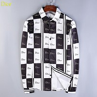 Dior Fashion New More Letter Print Contrast Color Long Sleeve Top Shirt
