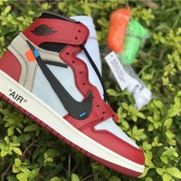 Off White x Nike Air Jordan 1 Red/Black Sneaker