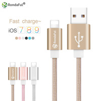 RondaFul 1M Metal Weave USB Charging Cable for iPhone 5 5S 5C 6 6s Plus 7 Nyon Braid Cord Line for Ipad Air for Apple Iphone