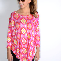 Birds Of A Feather Fuchsia and Yellow Tunic Top