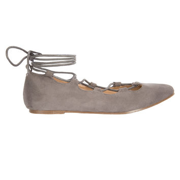 Gray Suede Lace-Up Flats-FINAL SALE