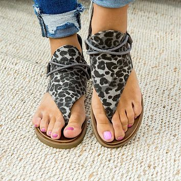 Very G Angelika Gray Leopard Sandals