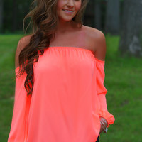 Simply Sweet Off Shoulder Top (Neon Coral)
