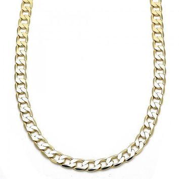 Gold Layered Basic Necklace, Curb Design, Golden Tone