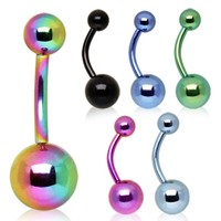 PVD Plated 316L Surgical Steel Belly Button Ring