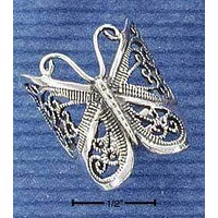 Sterling Silver Ring:  Antiqued Butterfly Filigree Ring