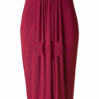 Office Crush Pleated Front Jersey Pencil Skirt - Burgundy