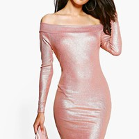Petite Sara Off The Shoulder Metallic Bodycon Dress