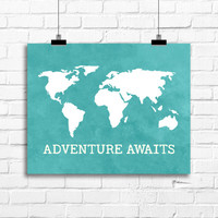 World Map art print, Adventure Awaits art,  Nursery room decor, Adventure awaits world map poster, travel poster, world map wall decor