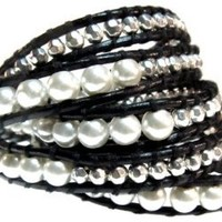 Thalia Elegant Beaded Black Leather Wrap 39 Inch Bracelet 5x Wrap in Gift Box