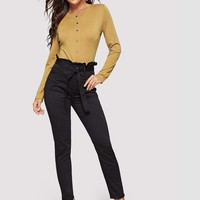Button Up Solid Ribbed Tee