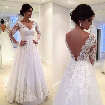 Under $100 Cheap White/Ivory V-neck Long Sleeves Lace Wedding Dresses 2016 Sexy Backless Bridal Wedding Gown Vestido De Novia
