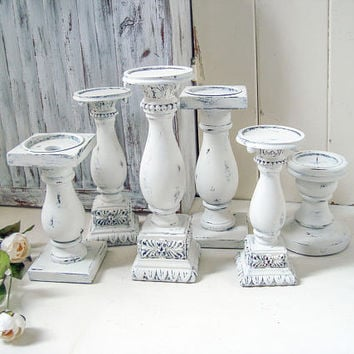 White Rustic Candleholders, Farmhouse White Candlestick Holders Pillar Candle Holders, Shabby Chic Chunky Candlesticks, Rustic Wedding Decor
