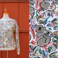 Vtg 80's Australian koala sweatshirt Ken Done Pop Art Medium Large White Soft Crew Neck Pink Confetti 1986