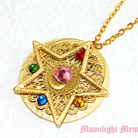 Sailor Moon Necklace - Inspired by Sailor Moon Crystal Star Brooch - Swarovski Crystal Gold Sailor Moon Necklace Jewelry Christmas Gift