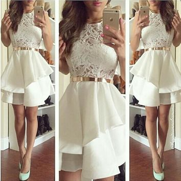 A Line White Lace Homecoming Dress Free Fast Shipping