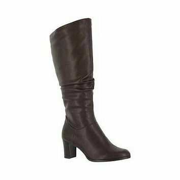 Easy Street Women Tessla Tall Boots Rouched Brown Leather Shoe Block Heel US 7.5