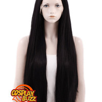 """30"""" Long Straight Jet Black Lace Front Synthetic Hair Wig LF327 - CosplayBuzz"""