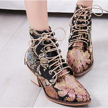 New pointy middle lace-up ankle boots shoes