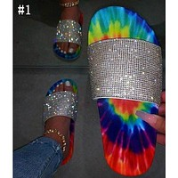Fashion rhinestone color flat slippers sandals sandals women shoes