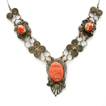 Art Nouveau Lavalier Cannetille Necklace Sterling