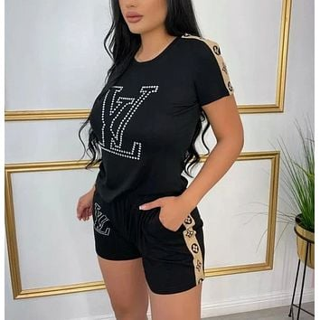 Louis Vuitton Women With short sleeves Top Pants shorts Two-Piece