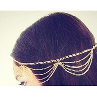 Moonar®Women Beauty BOHO Chain Fringe Tassel Metal Head Piece Hair Band (Golden)