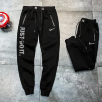 NIKE Just Do It New Fashion Autumn And Winter Letter Print Women Men Sports Leisure Keep Warm Thick Pants Black