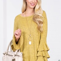 Stone Wash Ruffle Tier Top | Yellow