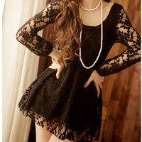 Princess waist floral puff sleeve Black Lace dress [174]