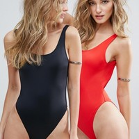 ASOS Scoop Front High Leg Swimsuit Multipack at asos.com